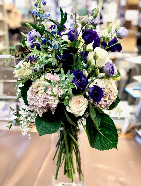 Pink & Purple Roses With Hydrangeas In Glass Vase